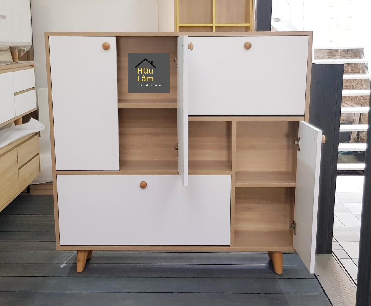 Tủ giày thông minh 5 cánh vân gỗ phối trắng HLTG-015