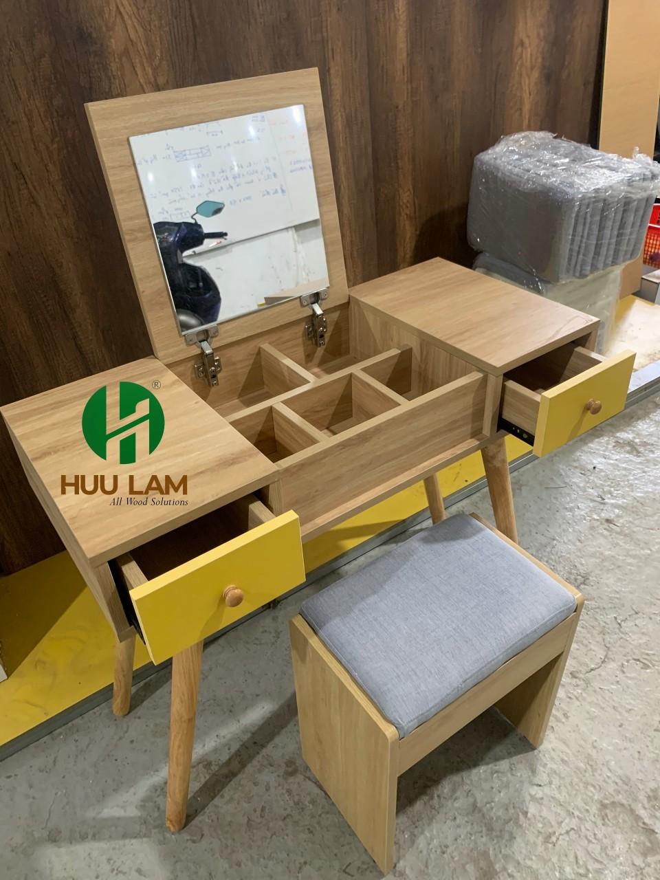 ✅Bàn trang điểm gỗ  HLBP01 màu vân gỗ phối vàng