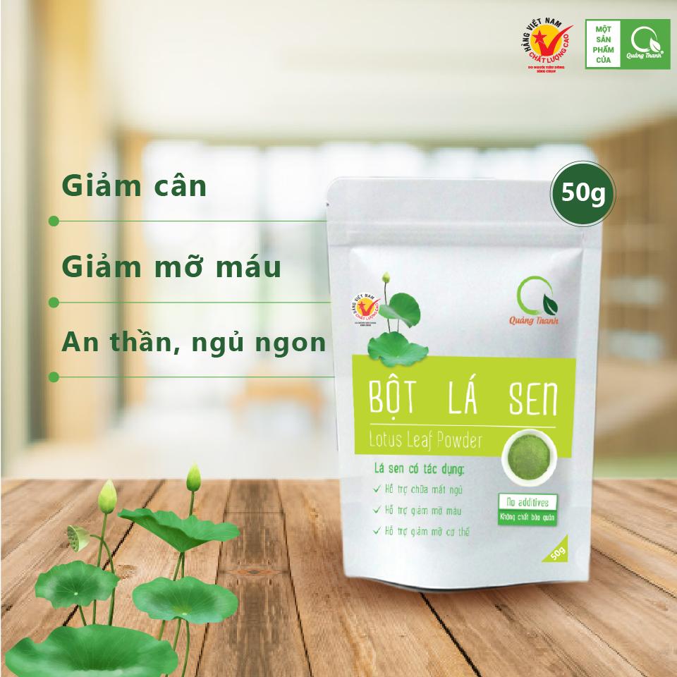 Bột Lá Sen Tươi Quảng Thanh gói 50g - 100% SẠCH, nguyên chất