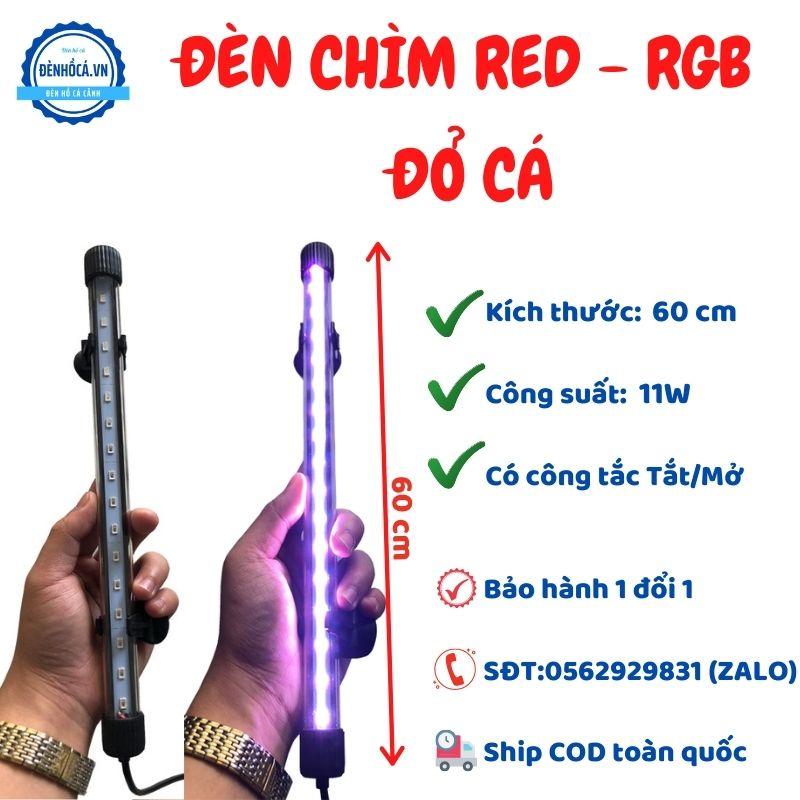 Đèn chìm RED - RGB lên màu cá kích thước 60cm UY TÍN  - CHẤT LƯỢNG