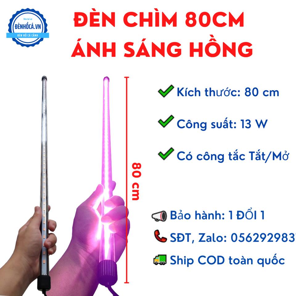 Đèn Chìm dài 80cm đèn Led Hồng dành cho hồ cá, hồ thủy sinh