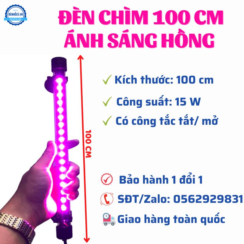 Đèn Chìm dài 100cm đèn Led Hồng dành cho hồ cá, hồ thủy sinh