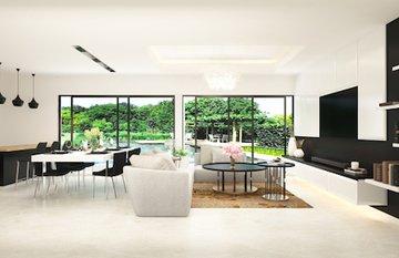 Mẫu thiết kế phòng khách hiện đại gần gũi với thiên nhiên
