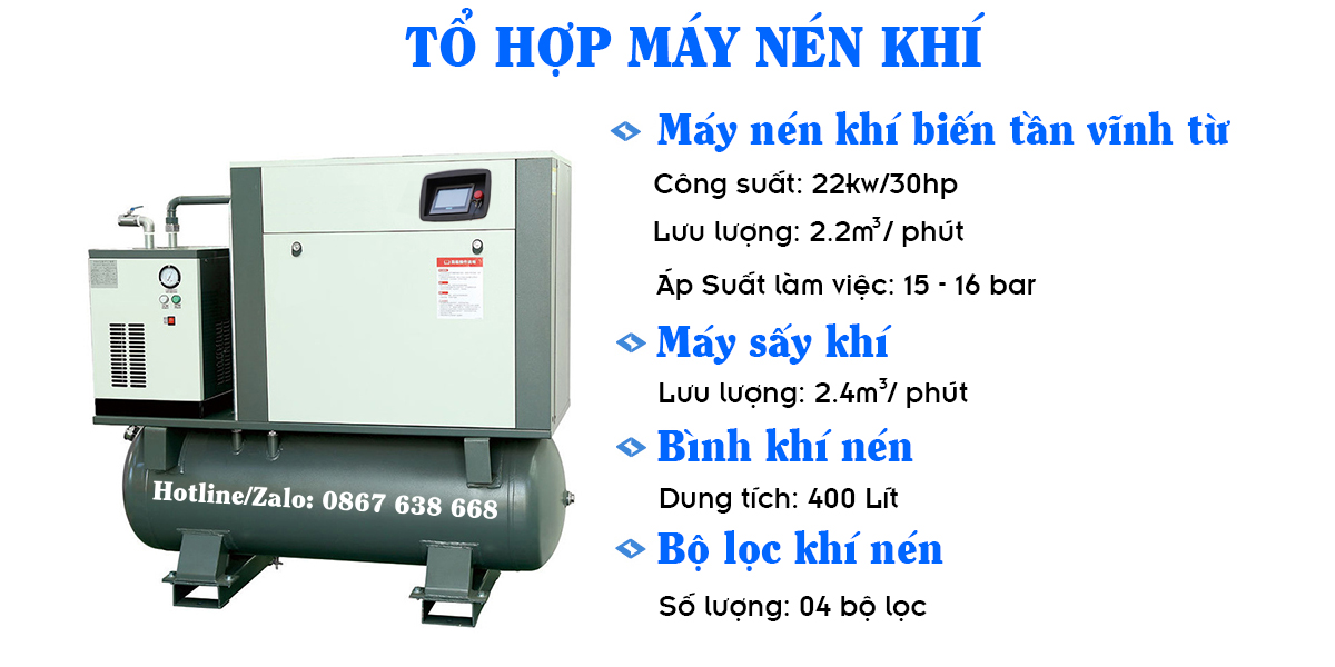 Máy Nén Khí 30HP Dùng Cho Máy Cắt Laser