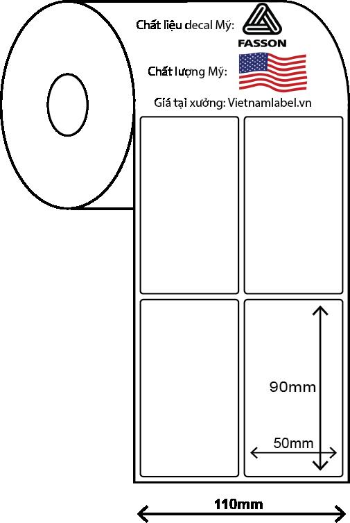 Decal cuộn giấy in mã vạch 2 tem 50x90mm x 50m, bo góc