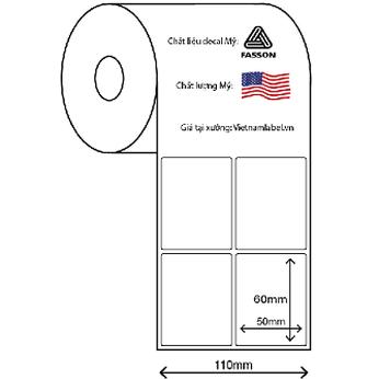 Decal cuộn giấy in mã vạch 2 tem 50x65mm x 50m chất liệu Fasson chất lượng Mỹ giá tại xưởng vietnamlabel.vn
