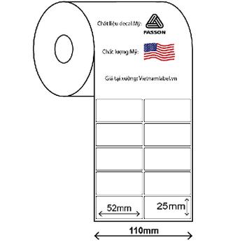 Decal cuộn giấy in mã vạch 2 tem 52x25mm x 50m chất liệu Fasson chất lượng Mỹ giá tại xưởng vietnamlabel.vn