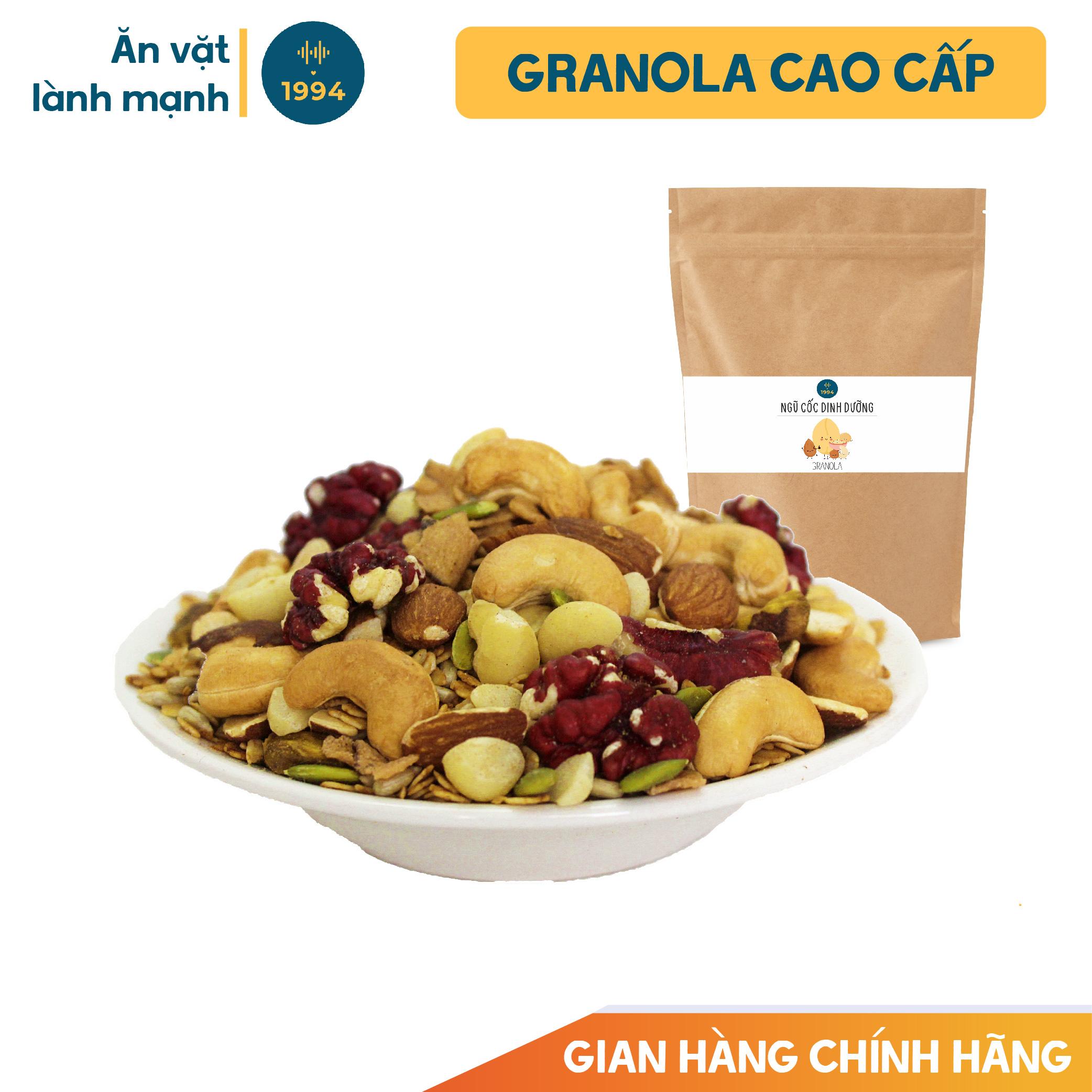 Ngũ cốc dinh dưỡng Granola 500gr 1994food - Yến mạch rang giòn mix hạt dinh dưỡng