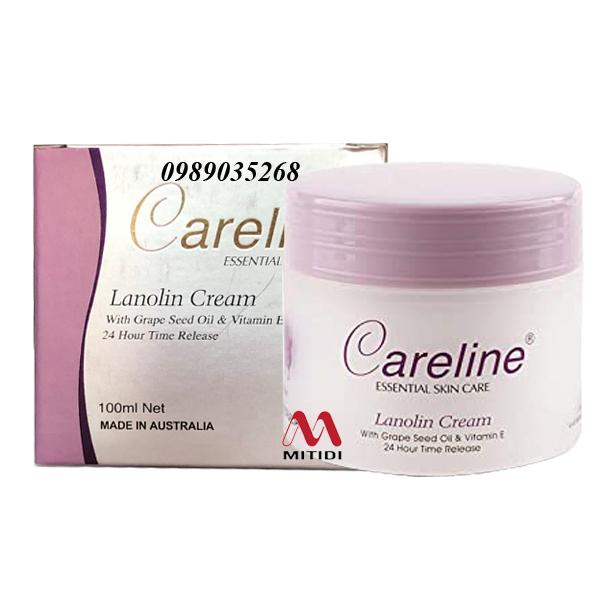 Kem nhau thai cừu Careline Lanolin Cream with Grape Seed Oil & Vitamin E