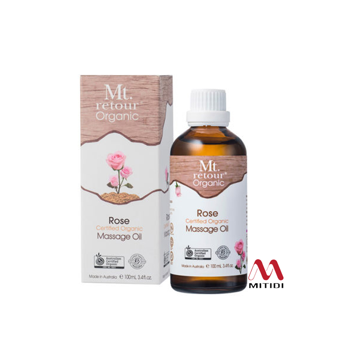 Dầu massage hoa hồng Rose Massage Oil Certified Organic Mt retour