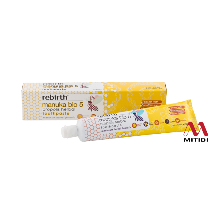 Kem đánh răng Rebirth Manuka Bio 5 Propolis Herbal Toothpaste
