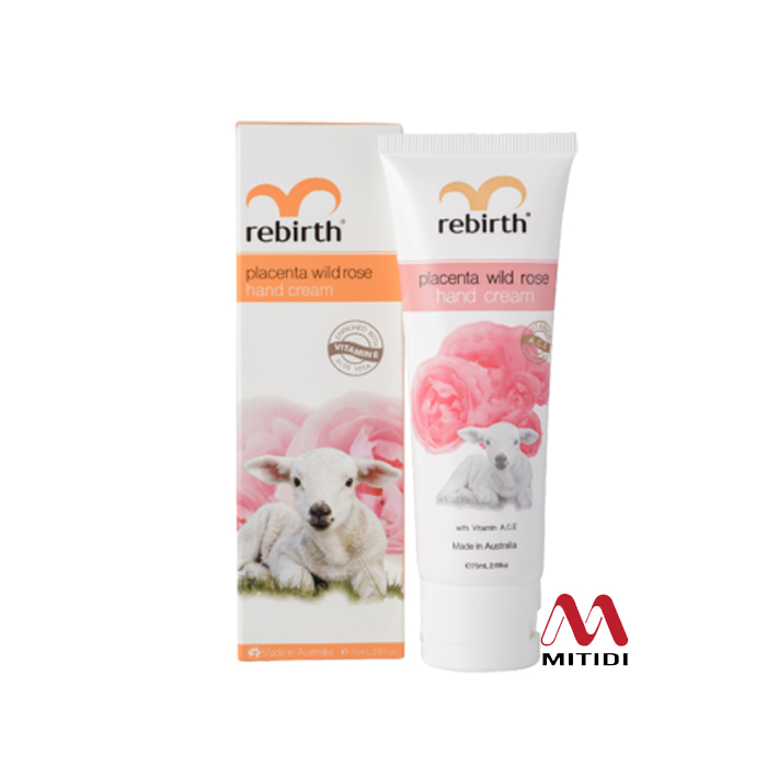Kem dưỡng da tay Rebirth Placenta Wild Rose Hand Cream with Vitamins A,C,E