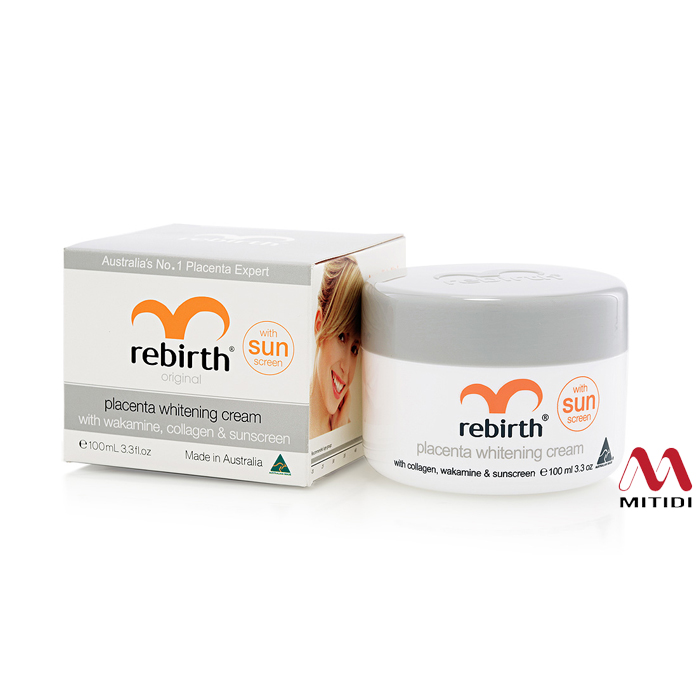 Kem nhau thai cừu Rebirth Placenta Whitening Cream with collagen, wakamine & sunscreen