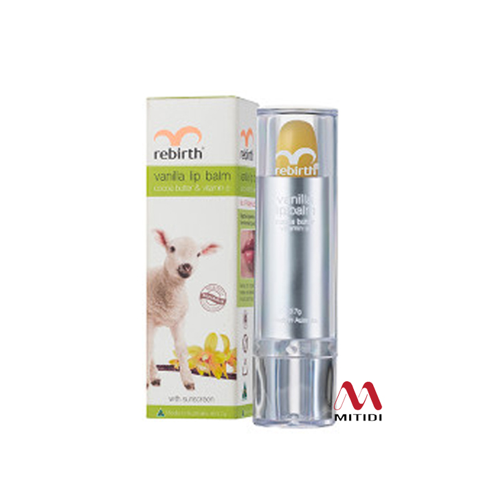 Son dưỡng môi cừu Rebirth Vanilla Lip Balm with Cocoa Butter & Vitamin E