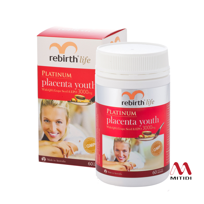 Viên nhau thai cừu Rebirth Platinum Placenta Youth with Q10, Grape Seed & EPO 3000mg