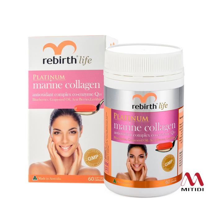 Viên uống Collagen Rebirth Platinum Marine Collagen Antioxidant complex Co-enzyme Q10
