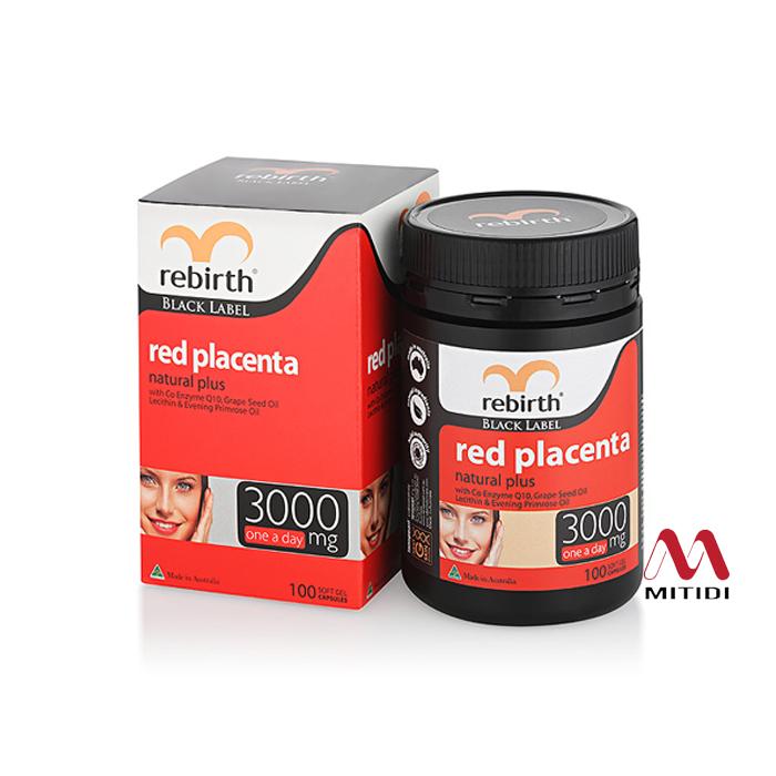 Viên uống nhau thai cừu Rebirth Red Placenta 3000mg