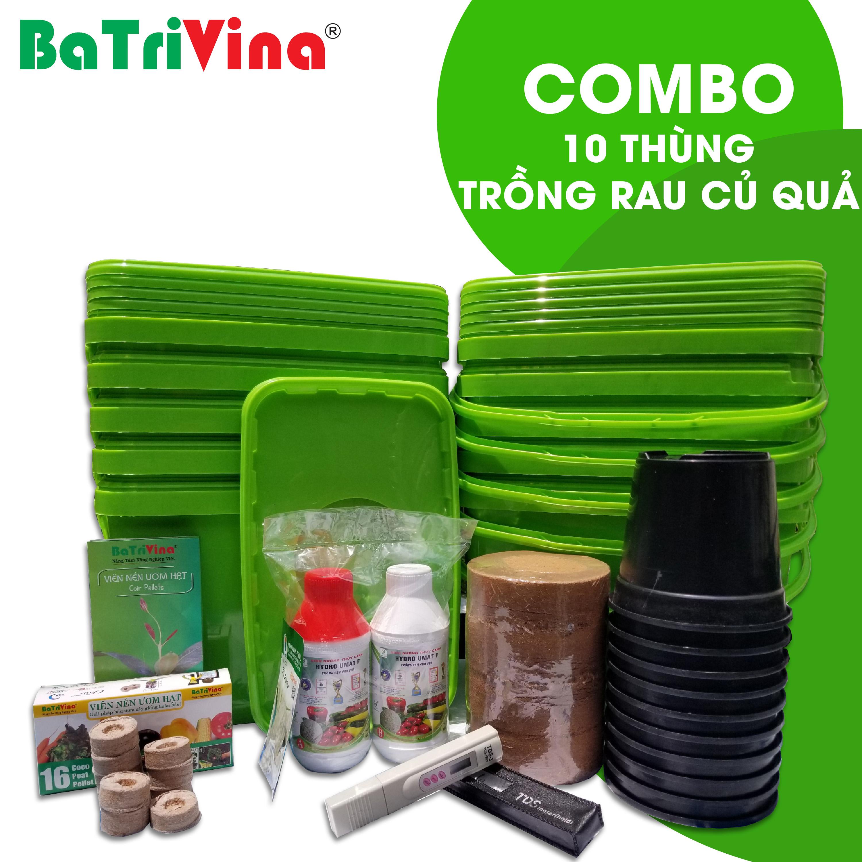 Combo 10 thùng trồng RAU CỦ QUẢ thủy canh tĩnh BaTriVina (Đầy đủ phụ kiện trồng)