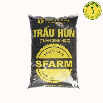 Túi 5dm Trấu Hun SFARM (Biochar – Than sinh học) Bổ Sung Kali Bón Cây Siêu Tốt