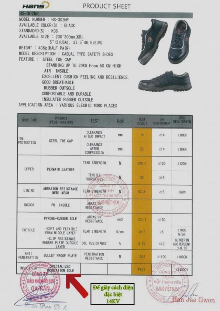 Giày Bảo Hộ Cách Điện Hàn Quốc HS-304NR 15KV