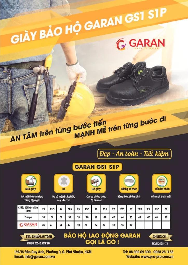 Giày Bảo Hộ Mũi Sắt Đi Công Trình GARAN SAFETY GS1
