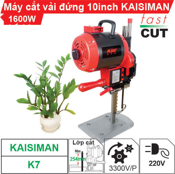 Máy cắt vải đứng 10 inch Kaisiman 1600W K7 (điện tử) cao cấp