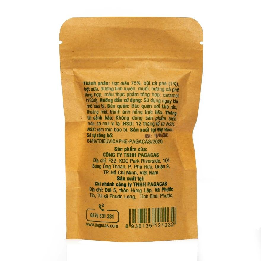 Hạt điều vị cà phê Pagacas - Túi zip 40g