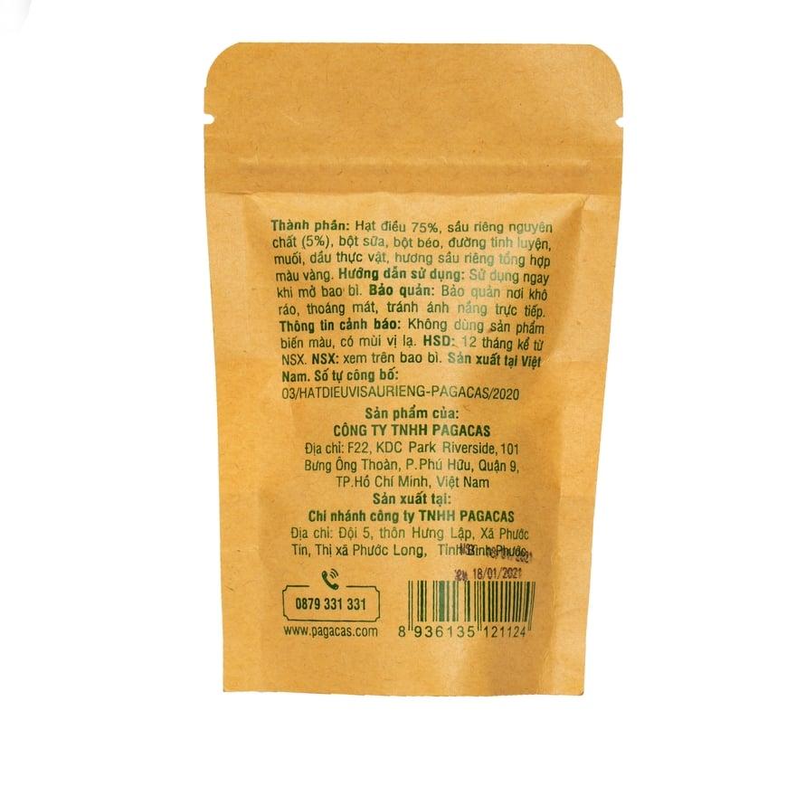 Hạt điều vị sầu riêng Pagacas - Túi zip 40g