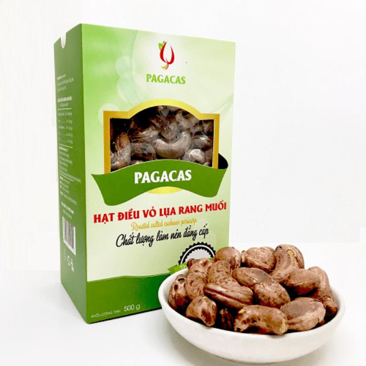 Hạt điều vỏ lụa rang muối - hộp giấy 500g | Pagacas
