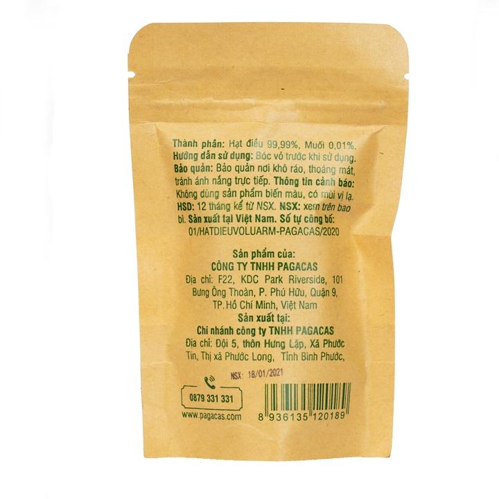 Hạt điều vỏ lụa rang muối - túi zip 40g | PAGACAS