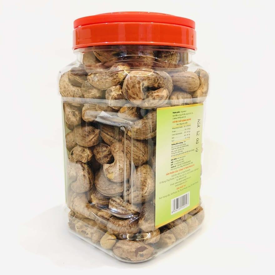Hạt điều rang muối vỏ lụa Pagacas - Hộp nhựa 500g