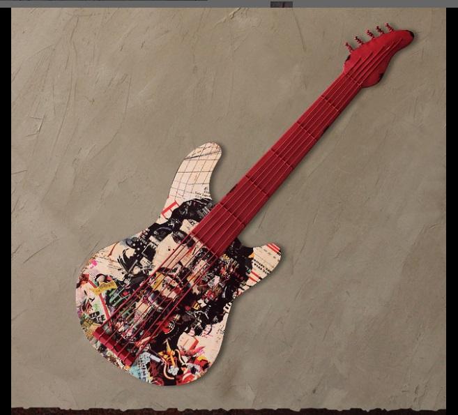 Đàn Guitar treo tường Trang trí phong cách Vintage, Retro - Decor quán Cafe, Bia, Quán ăn, Nhà hàng