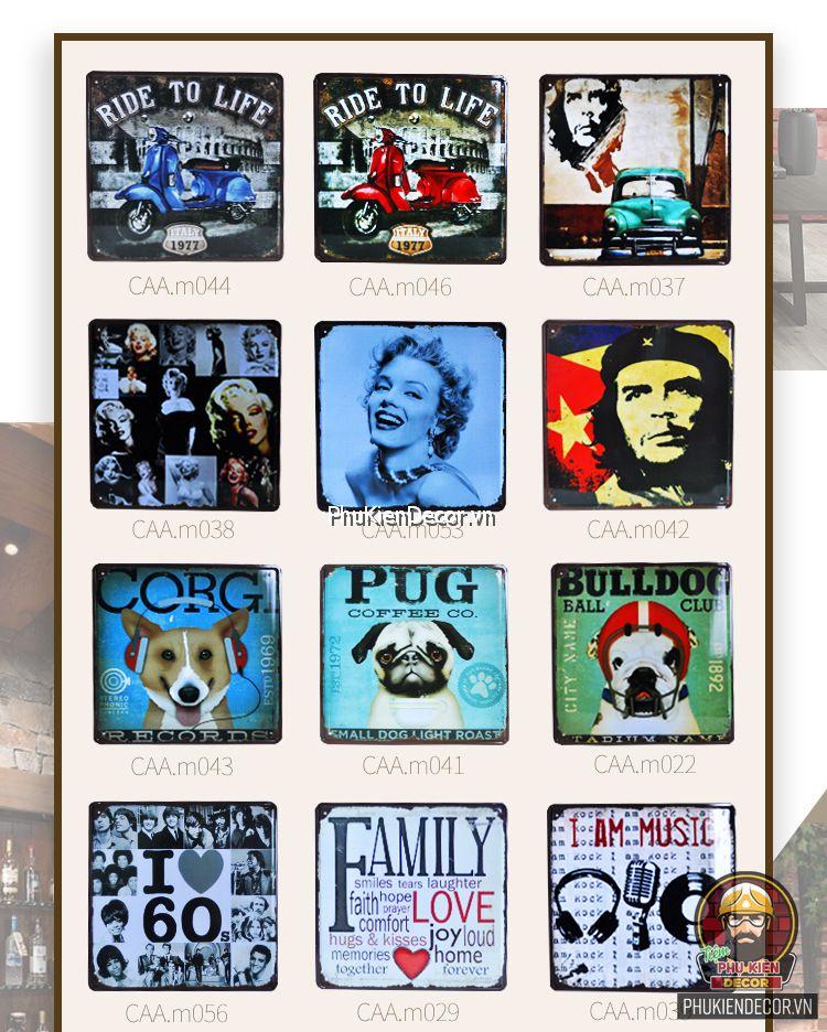 Tranh sắt Vintage trang trí nghệ thuật - Tranh thiếc decor Quán Cafe, Beer, Quán ăn, Nhà ở, Căn hộ