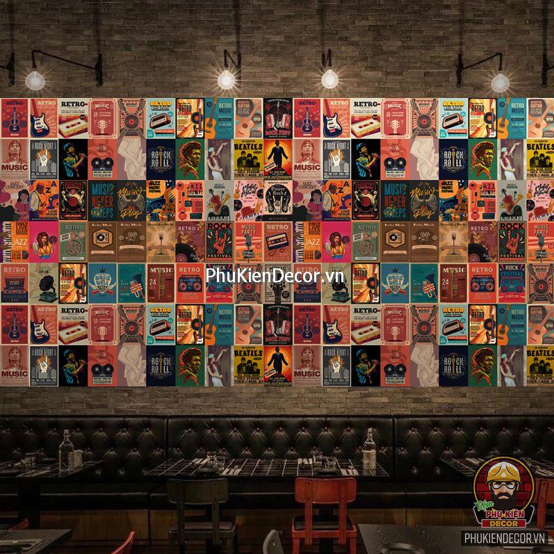 Decal dán tường, Stickers chủ đề MUSIC, trang trí Quán Cafe, Bia, Trà sữa, Quán ăn