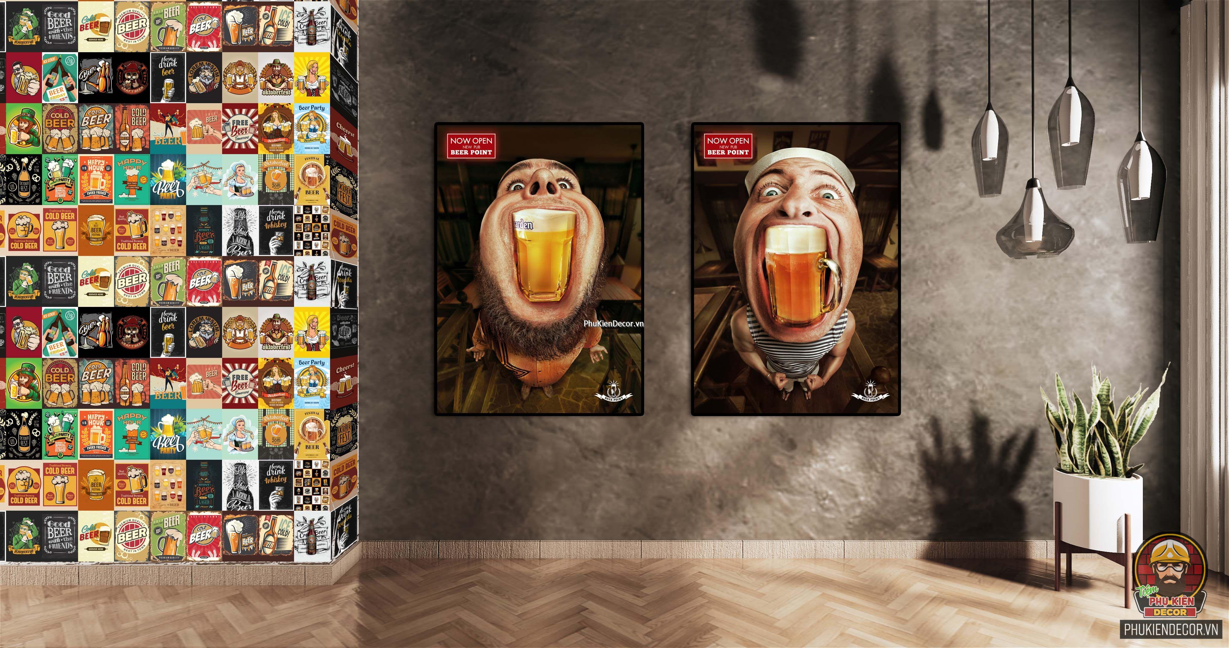 Decal dán tường, Stickers chủ đề BEER, trang trí Quán Cafe, Bia - Set đề can 50 tấm kích thước 20x30cm