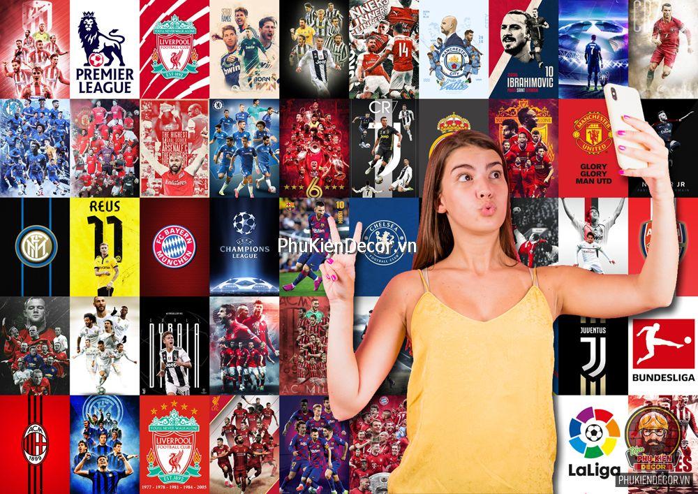 Decal dán tường, Stickers chủ đề BÓNG ĐÁ FOOTBALL, trang trí Quán Cafe, Bia, Trà sữa