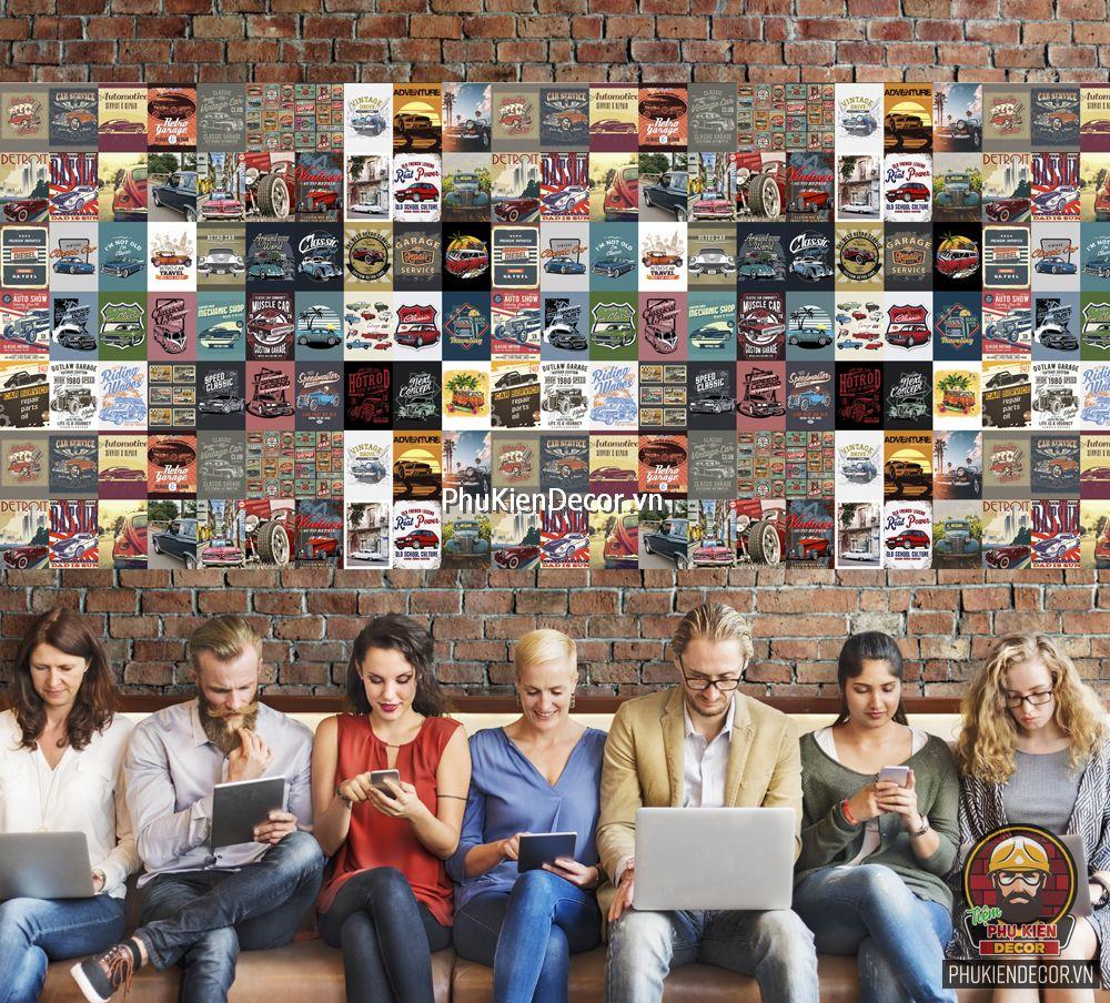 Decal dán tường, Stickers chủ đề CAR RETRO, trang trí Quán Cafe Biker, Bia, Garage, hội Ô tô