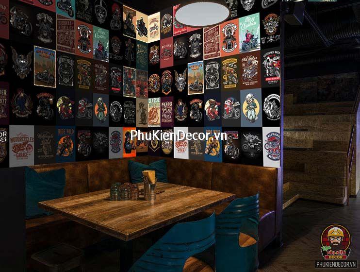 Decal dán tường, Stickers chủ đề BIKER, trang trí Quán Cafe Biker, Bia, Garage, cửa hàng sửa Xe máy, hội Môto