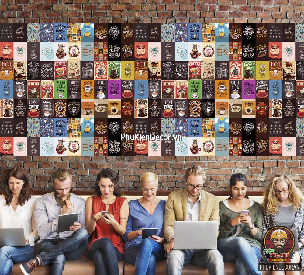 Decal dán tường, Stickers chủ đề COFFEE, trang trí Quán Cafe, Bia - Set đề can 50 tấm kích thước 20x30cm