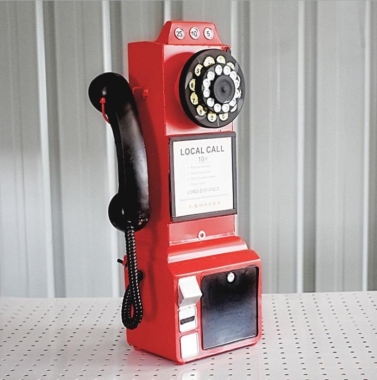 Mô hình Điện thoại treo tường phong cách Vintage, Retro - Trang trí Quán Cafe, Bia, Trà sữa, Shop Quần áo