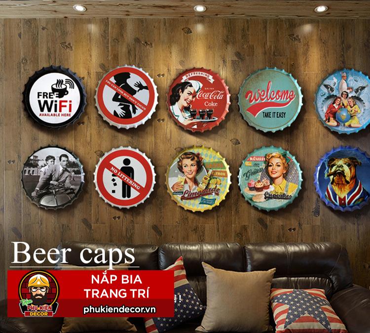 Nắp bia trang trí Decor Tường