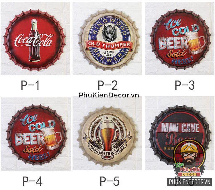 Nắp Chai Bia treo tường - Trang trí Quán Cafe, Beer, Quán ăn