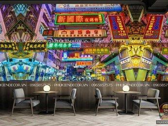 Tổng hợp 49 mẫu Tranh dán tường 3D phong cảnh thành phố Hồng Kong, chất liệu giấy decal dán tường trang trí cho Quán siêu nét