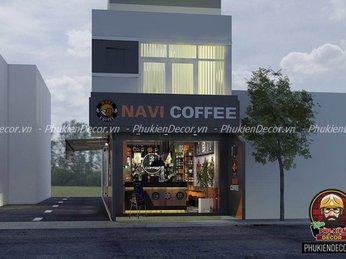 Mẫu thiết kế quán Cafe nhỏ đẹp, 2 mặt tiền ấn tượng