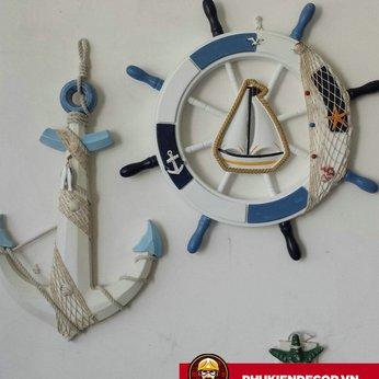 Bánh Lái Tàu - Mỏ neo bằng Gỗ trang trí - màu Trắng Xanh