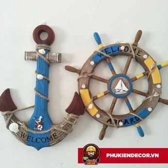 Bánh Lái Tàu - Mỏ neo bằng Gỗ trang trí - màu hoài cổ Retro