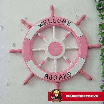 Bánh Lái Tàu Thủy thủ bằng Gỗ trang trí - màu Hồng Trắng