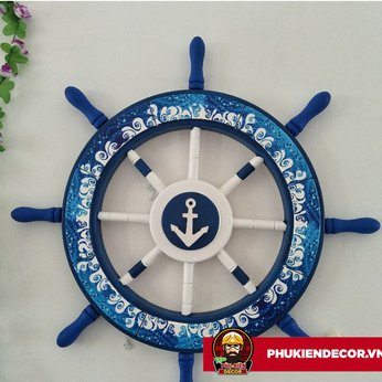 Bánh Lái Tàu Thủy thủ bằng Gỗ trang trí - màu Xanh dương