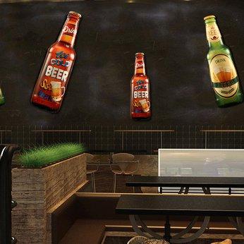 Mô hình Chai bia sắt 3D Khổng lồ treo tường, trang trí Quán Bia, Cafe, Bar, Pub, Nhà hàng