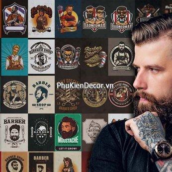 Decal dán tường, Stickers chủ đề BARBERSHOP, trang trí Tiệm hớt Tóc, Barbershop